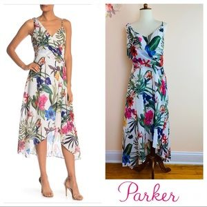 Final Sale New PARKER Draped High Low Floral Dress